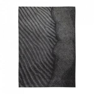 Covor negru/gri din bumbac si poliester Waves Lovina Beach Louis de Poortere (diverse dimensiuni)