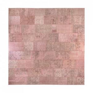 Covor roz din lana 460x460 cm Vintage Patchwork Versmissen
