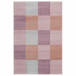 Covor roz/multicolor din iuta si polipropilena Checkerboard Livone (diverse dimensiuni)