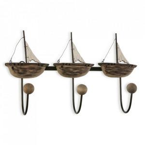 Cuier maro din lemn si metal Ships Versa Home
