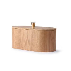 Cutie cu capac maro din lemn de frasin si alama Vanas HK Living