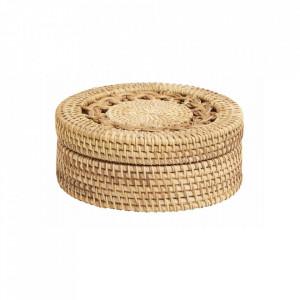 Cutie cu capac maro din ratan pentru bijuterii Boxi Nordal