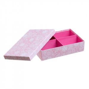 Cutie cu capac si 4 compartimente roz din carton Tender Unimasa