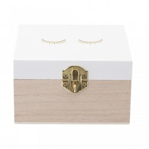 Cutie depozitare din lemn cu capac alb 12x12 cm Eyes Bloomingville