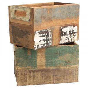 Cutie multicolora din lemn reciclat pentru sticle Crate Raw Materials