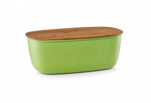 Cutie pentru paine verde/maro din fibre de bambus si lemn 20x35 cm Bread Box Zeller