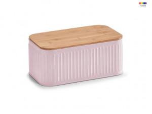 Cutie roz/maro cu capac din metal si lemn 18x30 cm pentru paine Pink Bread Box Zeller