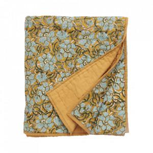 Cuvertura matlasata multicolora din bumbac 140x210 cm Mustard Flowers Nordal