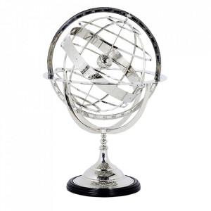 Decoratiune argintie din fier si lemn 29 cm Globe Eichholtz