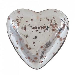 Decoratiune argintie din sticla 6 cm Heart Creative Collection
