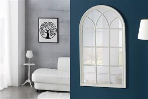 Decoratiune cu oglinda alba din lemn si sticla pentru perete 70x130 cm Raisa Giner y Colomer