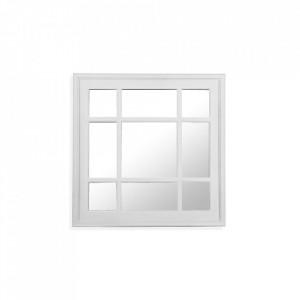 Decoratiune cu oglinda alba din plastic pentru perete 60,5x60,5 cm Square Window Versa Home
