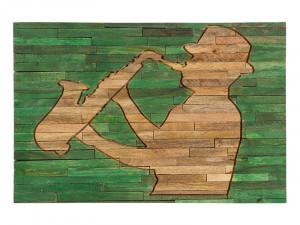 Decoratiune de perete din lemn de mango reciclat si MDF 40x60 cm Musician Santiago Pons