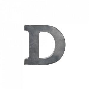 Decoratiune gri din fier 5,5 cm Letter D Madam Stoltz