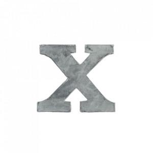 Decoratiune gri din fier 5,5 cm Letter X Madam Stoltz