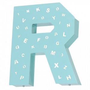 Decoratiune luminoasa turcoaz pentru perete din metal Letter R Aldex