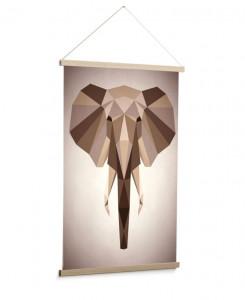 Decoratiune maro din lemn pentru perete 60x90 cm Nomand Elephant La Forma