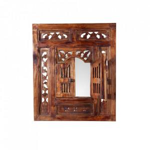 Decoratiune maro din lemn si oglinda pentru perete 60x70 cm Secret Window Invicta Interior