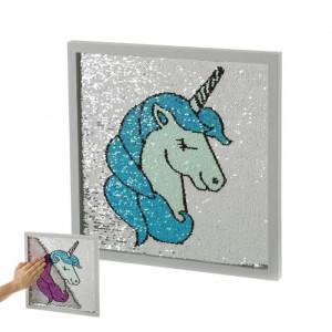 Decoratiune multicolora din MDF pentru perete 35x35 cm Unicorn Unimasa