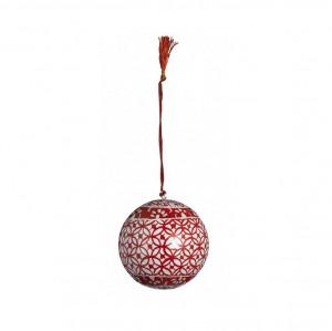 Decoratiune plastic rosu 7 cm pentru Craciun Madam Stoltz