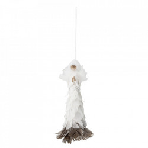 Decoratiune suspendabila alba din pene 20 cm Thaos Bloomingville