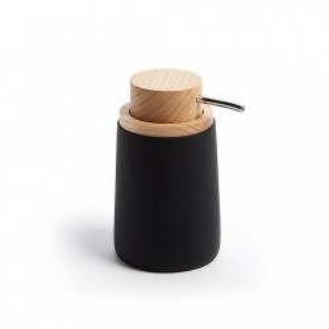 Dispenser sapun lichid negru din polirasina si lemn 8x14 cm Ludwig Kave Home