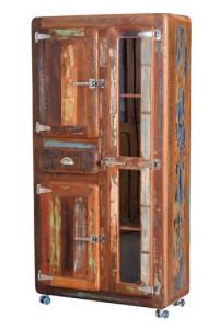 Dulap multicolor din lemn reciclat si metal 180 cm Fridge Giner y Colomer