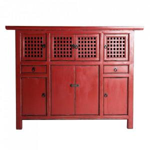 Dulapior rosu din lemn de pin Kira Vical Home