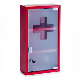 Dulapior rosu din metal si sticla pentru medicamente Medicine Cabinet Red High Zeller