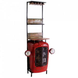 Etajera cu suport pentru sticle rosie/maro din metal si lemn 190 cm Tractor Sit Moebel