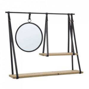 Etajera de perete cu oglinda maro/neagra din lemn de brad si otel 80 cm Jerrod Bizzotto