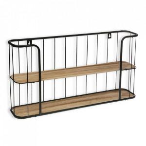 Etajera maro/neagra din lemn si metal pentru perete 33,5 cm Cruz Versa Home