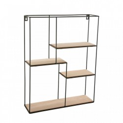 Etajera neagra din metal 50,5 cm Wall Shelf Rectangle Versa Home