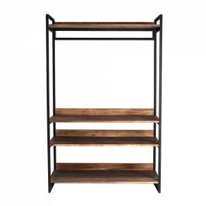 Etajera neagra/maro din fier si lemn 160 cm Bern Vical Home