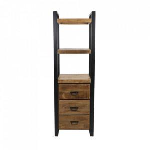 Etajera neagra/maro din lemn de mango si metal 175 cm Inzing HSM Collection