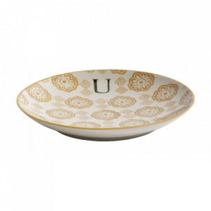 Farfurie pentru desert multicolora din ceramica 20 cm U Letter Nordal