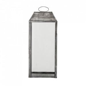Felinar gri/transparent din sticla si fier 48 cm Mitchell Bloomingville