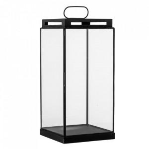 Felinar negru/transparent din metal si sticla 47 cm Kriss Bloomingville