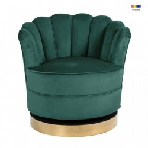 Fotoliu rotativ verde din catifea si metal Mila Green Richmond Interiors