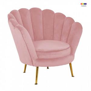 Fotoliu roz din catifea si metal Perla Pink Richmond Interiors
