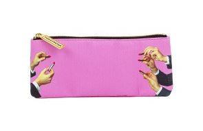Geanta multicolora din poliester si poliuretan 9x21 cm pentru cosmetice Lipsticks Pink Toiletpaper Seletti