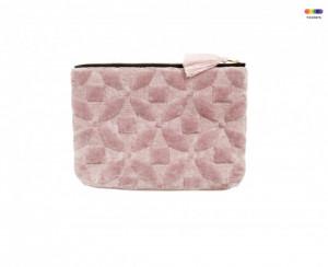 Geanta roz din catifea pentru cosmetice Pouch Flowers Nordal