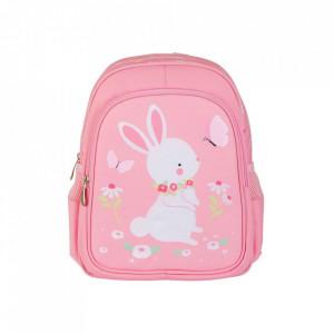 Ghiozdan multicolor din poliester Bunny A Little Lovely Company