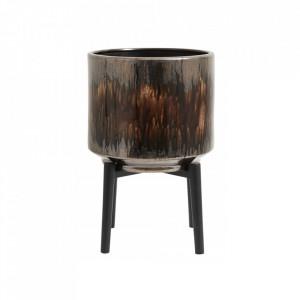 Ghiveci cu suport maro/negru din ceramica si lemn 36,5 cm Dark Brown Art Nordal