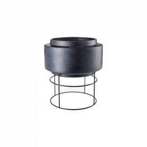 Ghiveci cu suport negru din ceramica si otel 40,5 cm Botanique Plant Pot Bolia