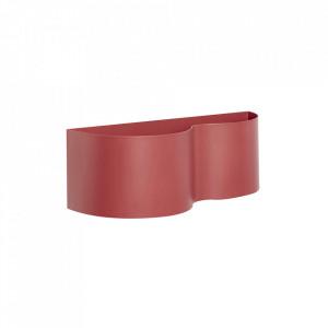 Ghiveci rosu din metal pentru perete 14x40 cm Bordeaux Planter Hubsch
