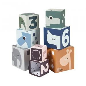 Joc de construit 8 piese multicolor din carton Friends Done by Deer