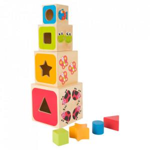 Jucarie de construit si potrivire a formelor din lemn ABC Small Foot