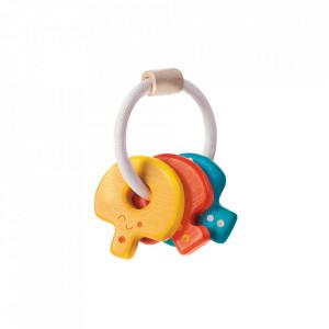 Jucarie zornaitoare multicolora din lemn Baby Key Rattle Plan Toys