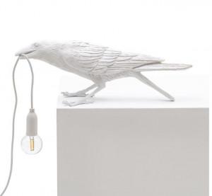 Lampa alba din rasina pentru exterior 10,5 cm Bird Playing Seletti